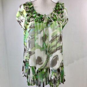 Sundance Short Sleeve Silk Blouse. Floral Print. L